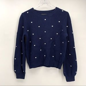 NWT Lucky Brand Embroidered Heart Ribbed Sweater S